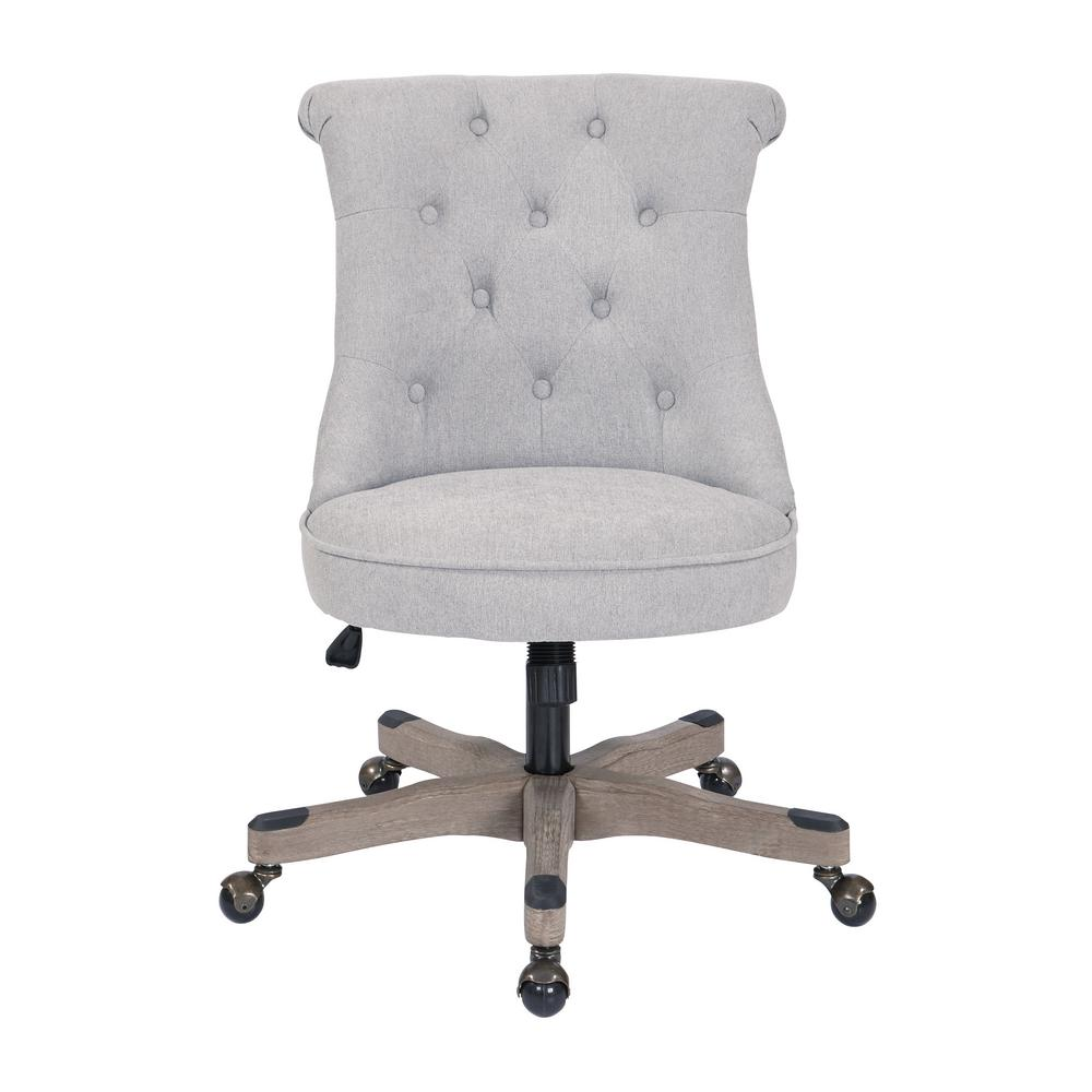 OSP Home Furnishings Hannah Fog Fabric Tufted Office Chair with Grey Wood Base, Fog Polyester With the look of an accent chair and the function of an office chair youll be a buzz of productivity with this chic desk chair in your home office. A classic button tufted, scroll back and piping trim seat with an inner foam core supports your body while you work. Easy care polyester fabric and a solid wood base offer long lasting durability and support. Create the home office of your dreams with the OSP Accents Hannah tufted office chair. Color: Fog Polyester.