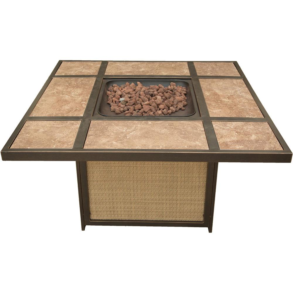 Square Shaped Tile Top Fire Pit Table