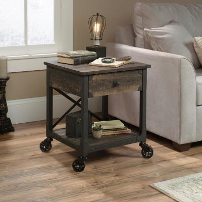 Steel River Carbon Oak Mobile End/Side Table