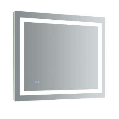 Santo 36 in. W x 30 in. H Frameless Single Bathroom Mirror with LED Lighting and Mirror Defogger