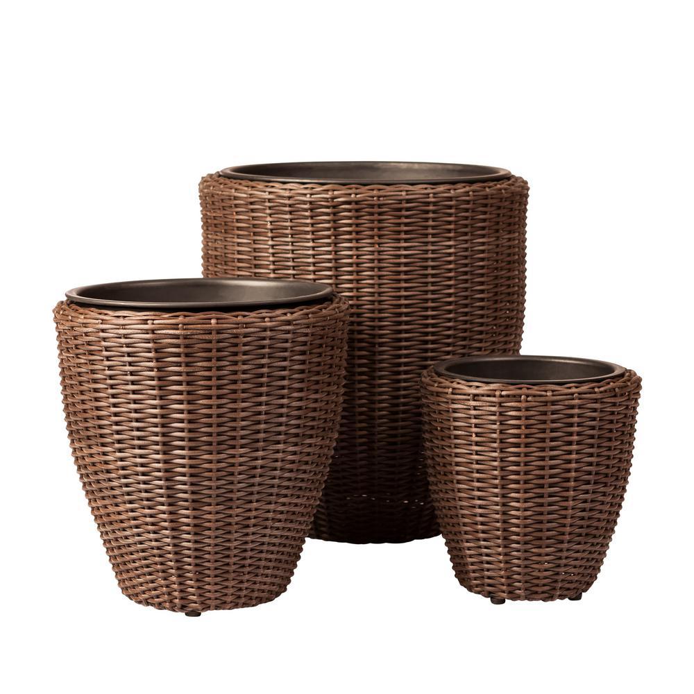 Mocha Resin Wicker Planters (3 Piece)