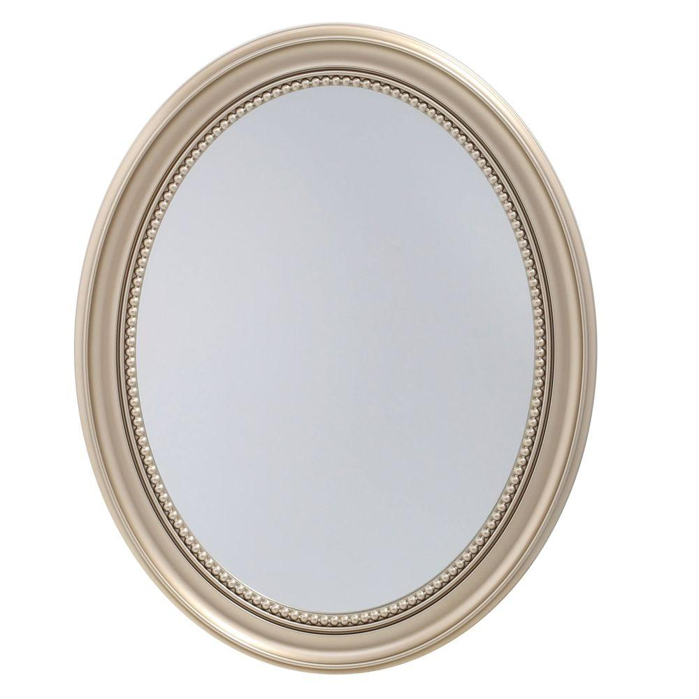 23 5 in x 29 in recessed or surface mount mirrored medicine cabinet in gold sp4593 the home Oval bathroom mirror cabinet