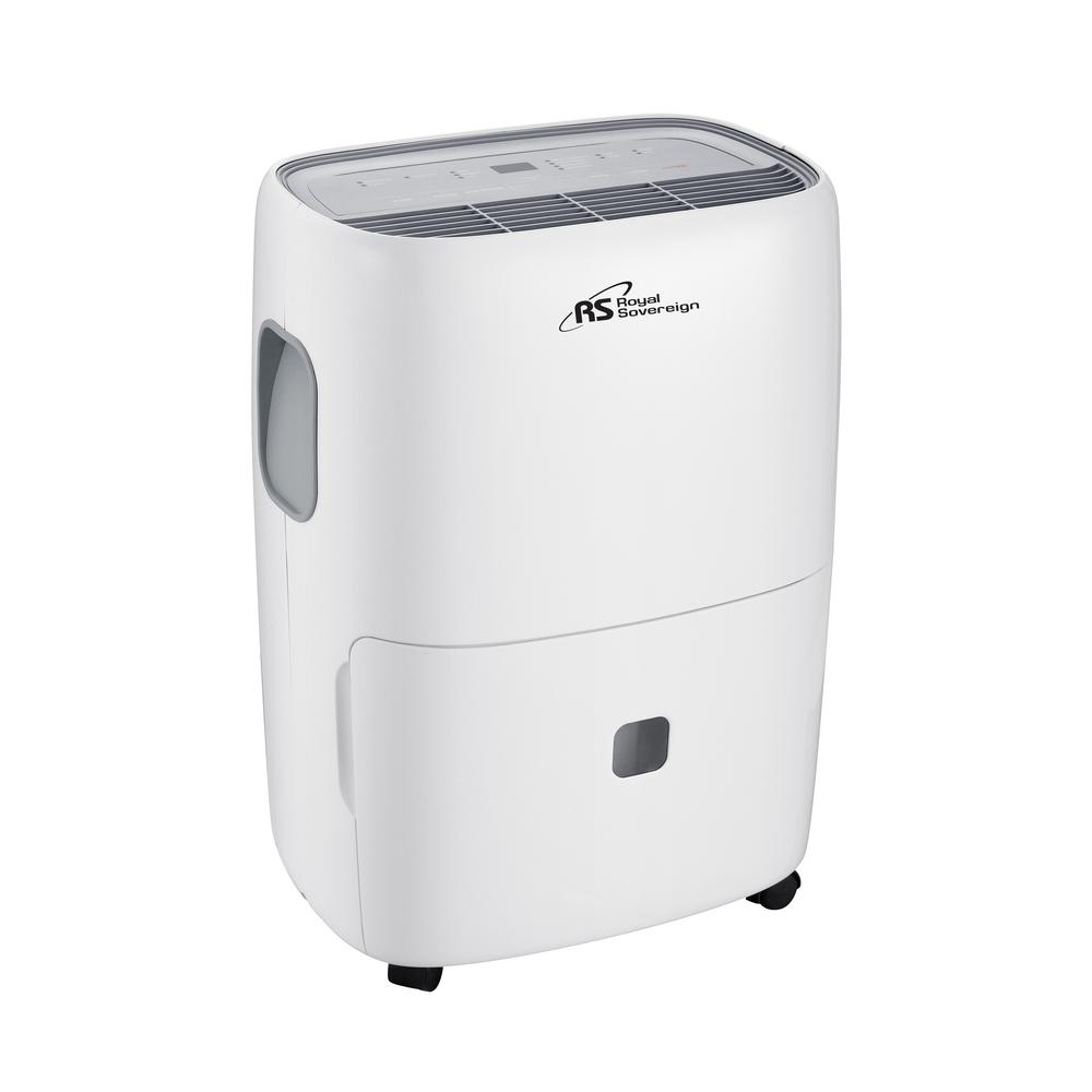 Royal Sovereign 30-Pint Dehumidifier, Whites The Royal Sovereign dehumidifier provides energy efficient power for healthier air quality and a drier, more comfortable environment. Our dehumidifier is user friendly as you can set the desired humidity level and fan speed with electronic controls. It meets both the new UL and New Energy Star safety requirements. Color: Whites.