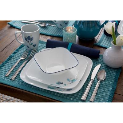 Square 16-Piece Country/Cottage Blue Flower Petals Glass Dinnerware Set (Service for 4)
