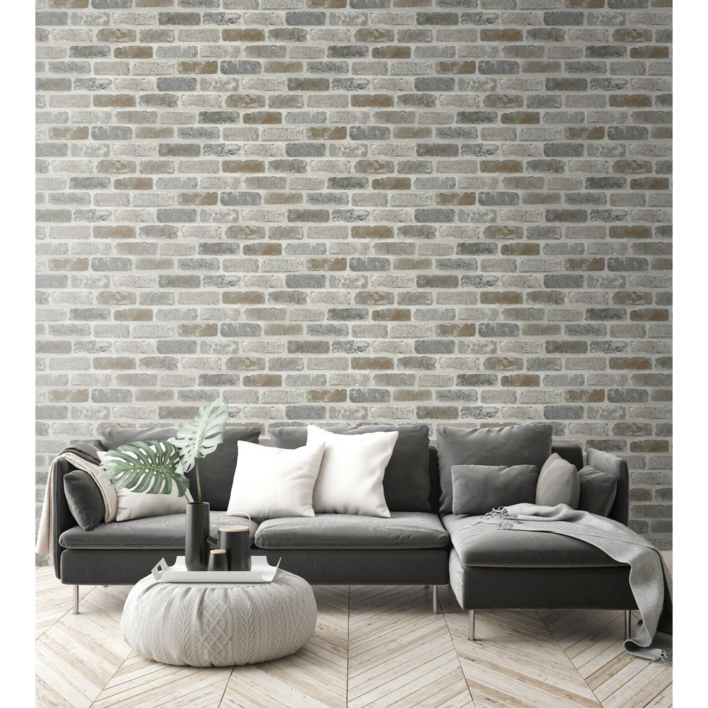 - NextWall Washed Faux Brick Peel And Stick Wallpaper NW30500 - The