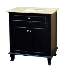 Bellaterra Home Durham TR 32 inch Single Vanity in Ebony with Natural Stone Vanity Top in... by Bellaterra Home