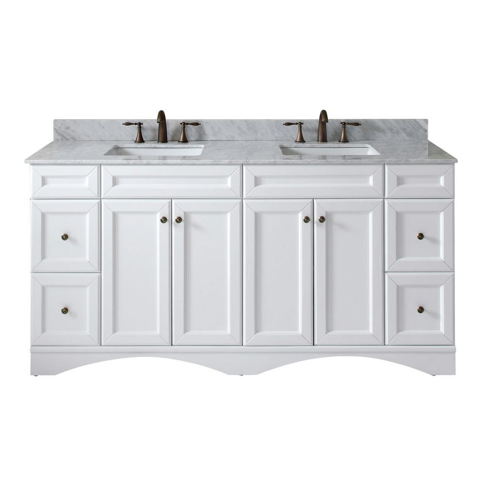 Virtu USA Talisa 72 in. W Bath Vanity in White with Marble Vanity Top in White with Square Basin
