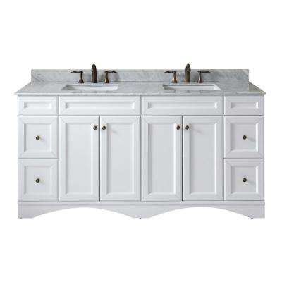 Talisa 72 in. W Bath Vanity in White with Marble Vanity Top in White with Square Basin