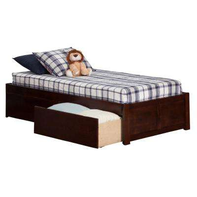 Concord Walnut Twin Platform Bed with Flat Panel Foot Board and 2-Urban Bed Drawers
