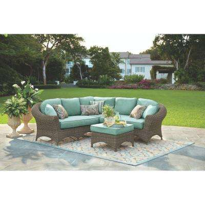 Lake Adela 4-Piece Weathered Gray All-Weather Wicker Patio Sectional Set with Surf Cushions