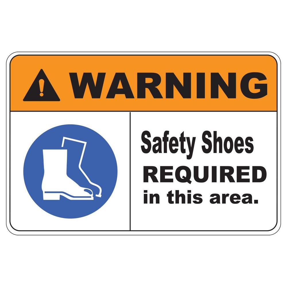 12 in. x 8 in. Plastic Warning Safety Shoes Safety Sign ...