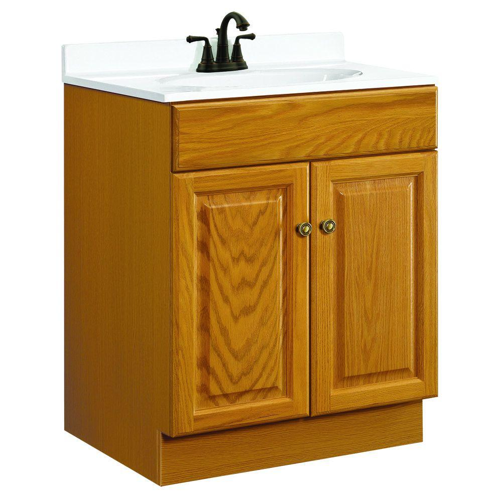 Design House Claremont 24 in. W x 21 in. D Unassembled Vanity Cabinet Only in Honey Oak
