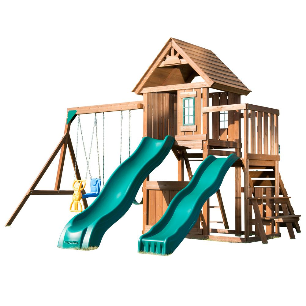 KnightsBridge Deluxe Wood Complete Playset with Wood Roof and Cool Wave