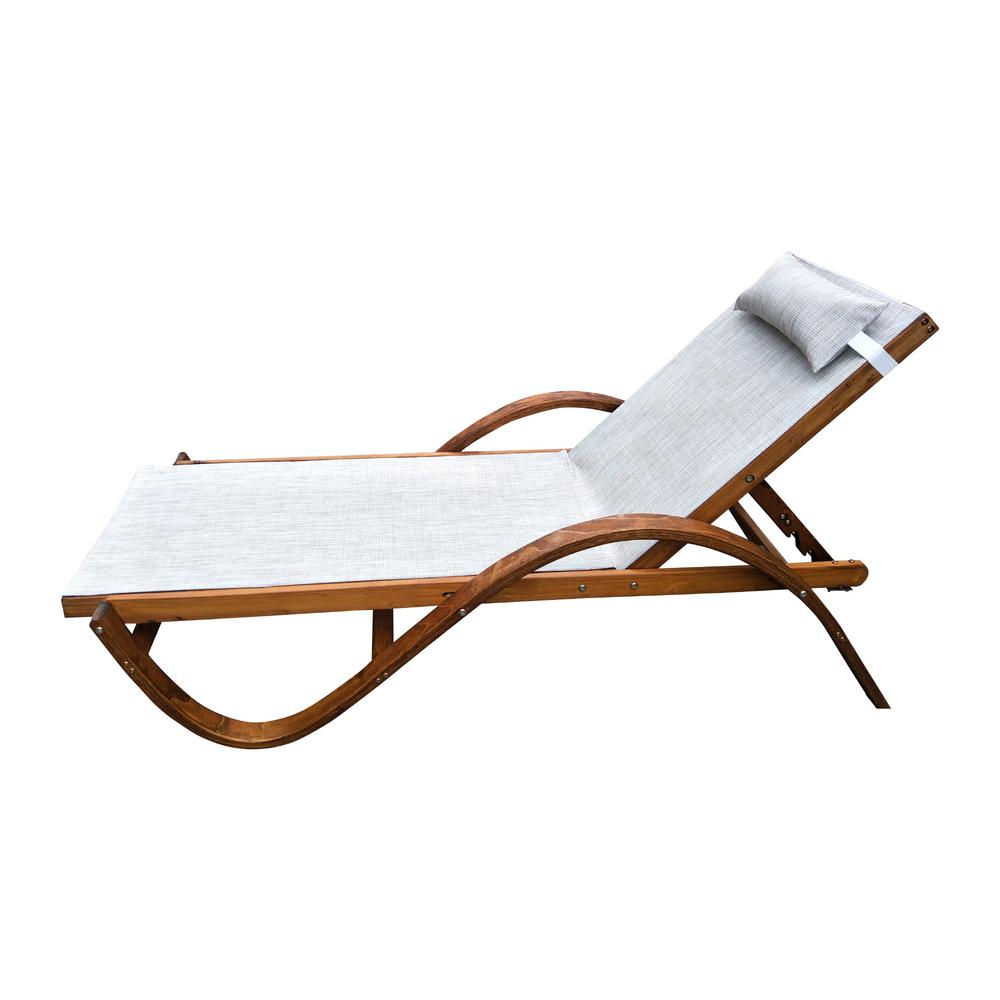 Miraculous Leisure Season 79 In W X 22 In D X 27 In H Brown Reclining Sling Wooden Patio Chaise Lounge With Beige Cushion Creativecarmelina Interior Chair Design Creativecarmelinacom