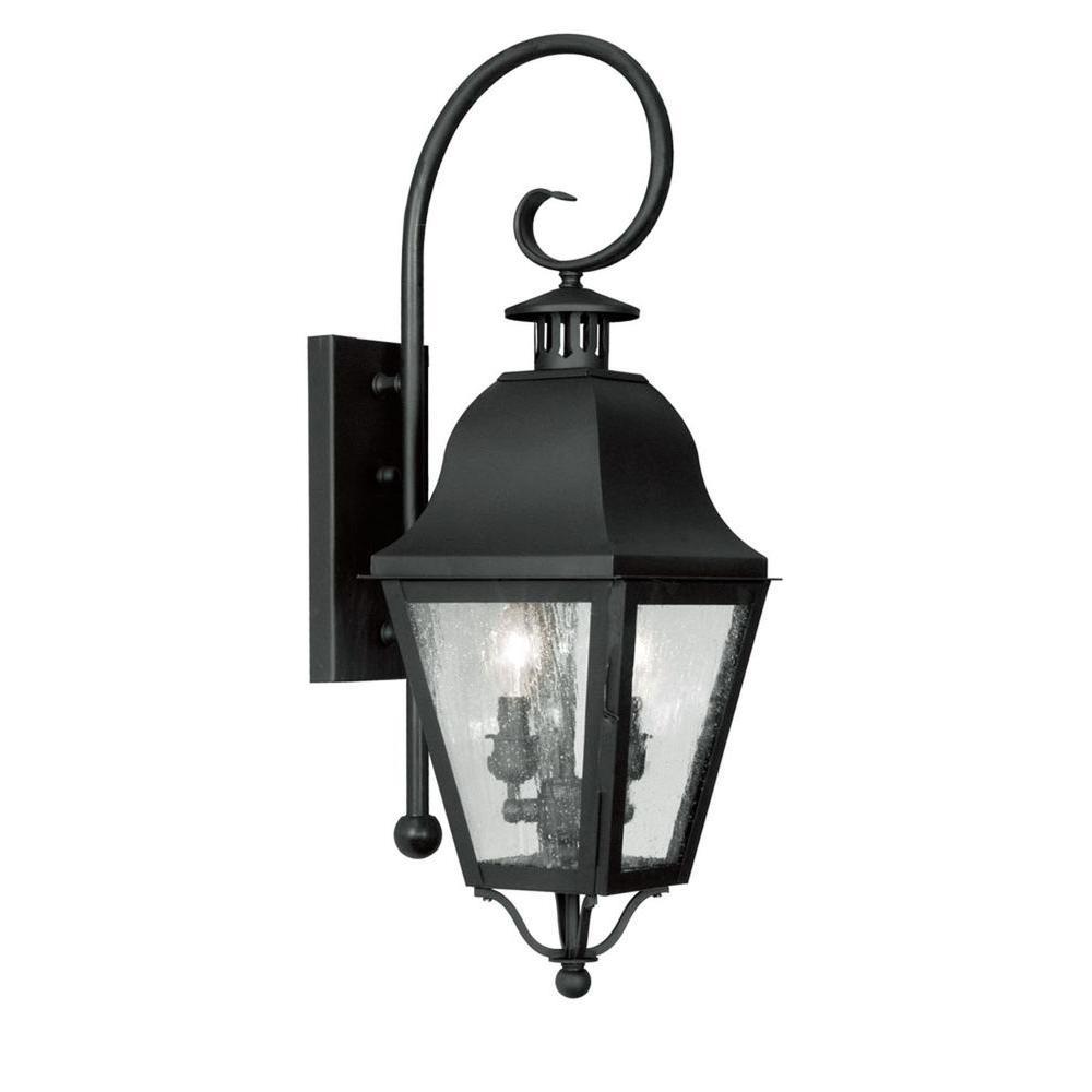 Livex Lighting Providence Wall-Mount 2-Light Black Outdoor Incandescent Lantern