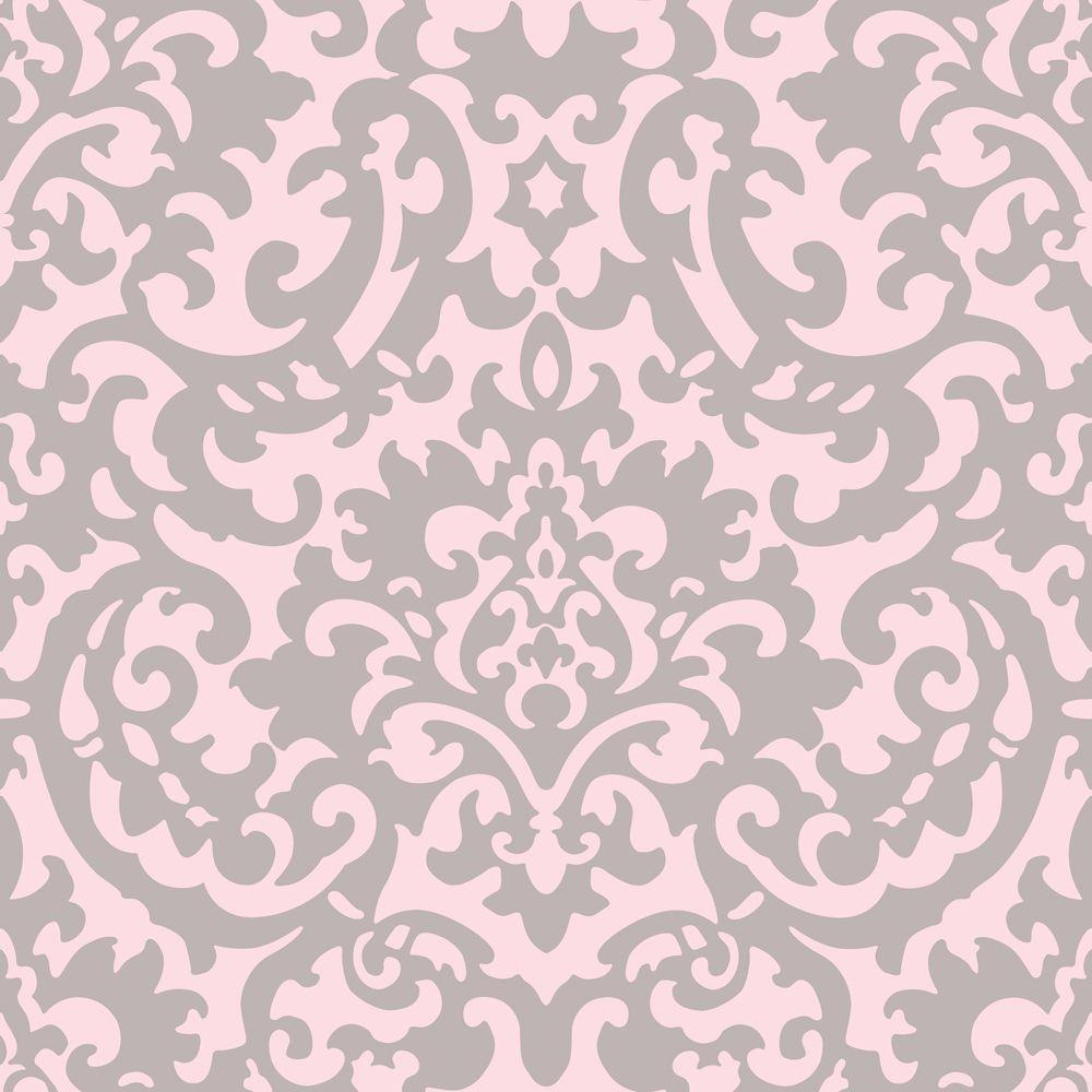 The Wallpaper Company 56 sq. ft. Yin Yang Damask Pink Grey Wallpaper