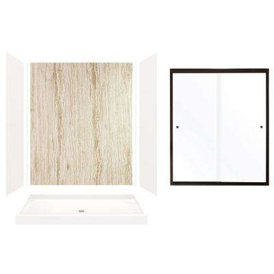 Expressions 32 in. x 60 in. x 72 in. Center Drain Alcove Shower Kit with Door in White/Sorento and Bronze Hardware