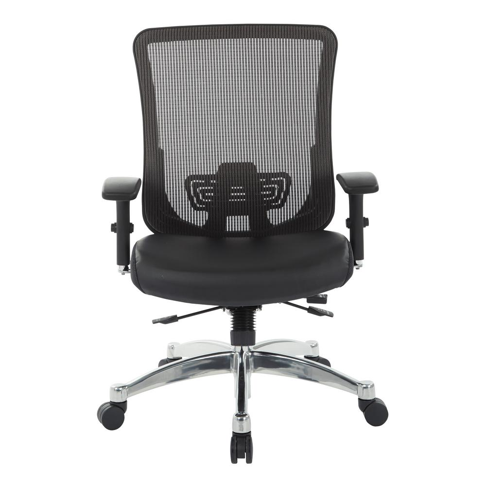 Black Vertical Mesh Back Chair with Black Bonded Leather Seat