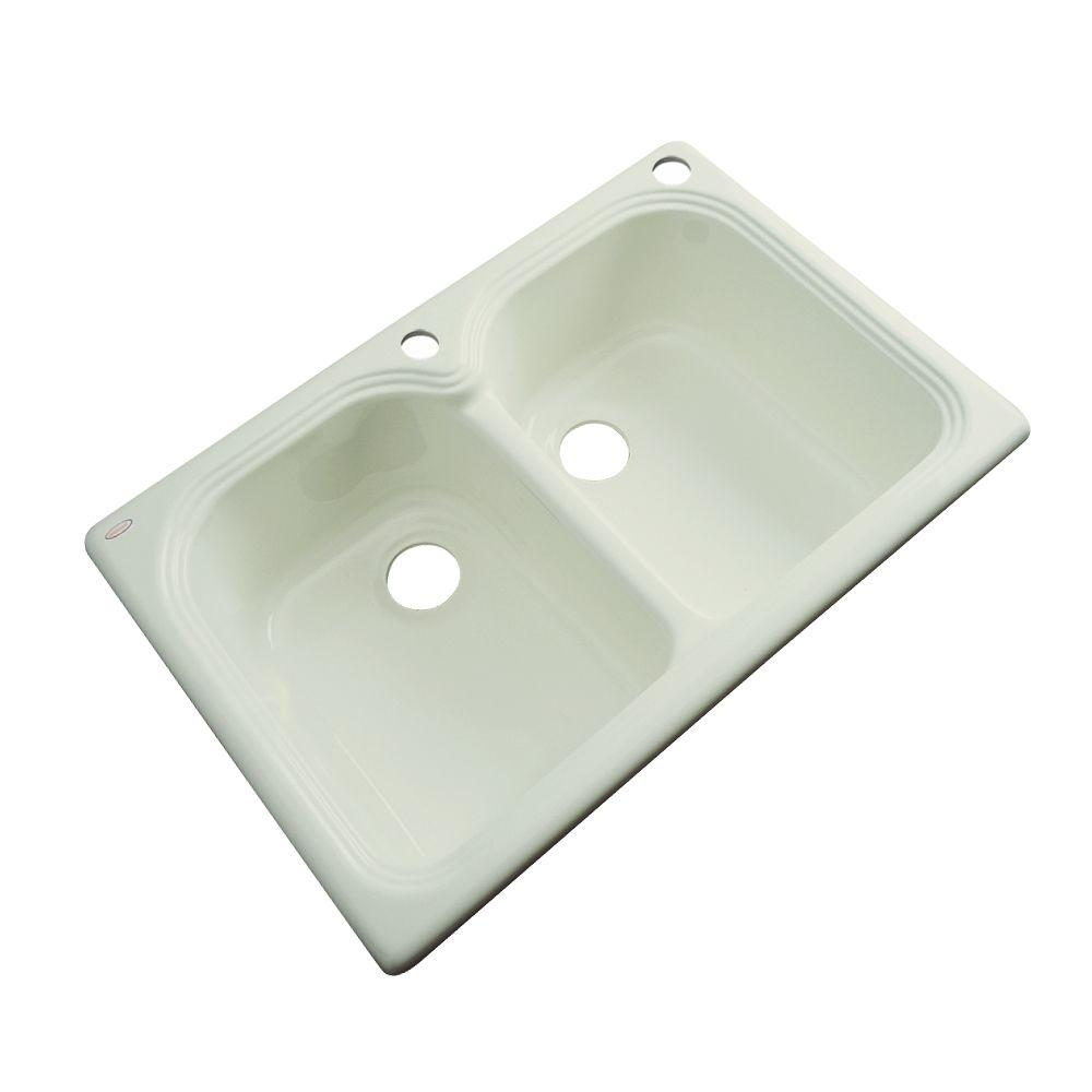 Thermocast Hartford Drop-In Acrylic 33 in. 1-Hole Double Bowl ...