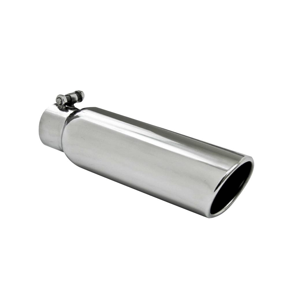 "T304 Stainless Weld On Angle Cut Exhaust Tip 2.5/"" Inlet 3.5/"" Outlet 12/"" Length"