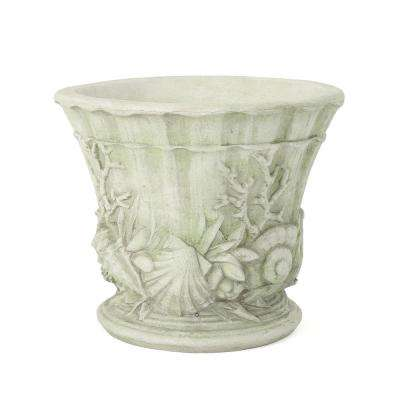 Guava 15 in. White Moss Cast Stone Urn
