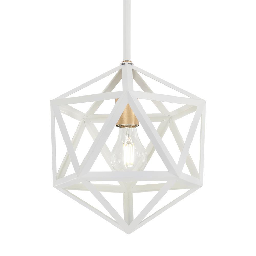 Home Decorators Collection 1-Light White with Gold Mini Pendant