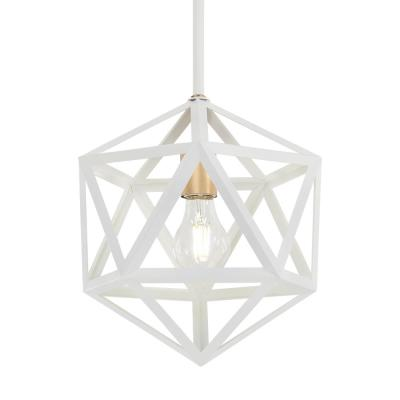 1-Light White with Gold Mini Pendant