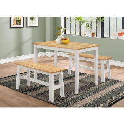 New York 3-Piece Natural and White Dining Set