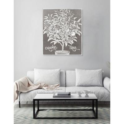 36 in. x 30 in. W 'Orange Tree Woodblock Print' by The Oliver Gal Artist Co. Printed Framed Canvas Wall Art