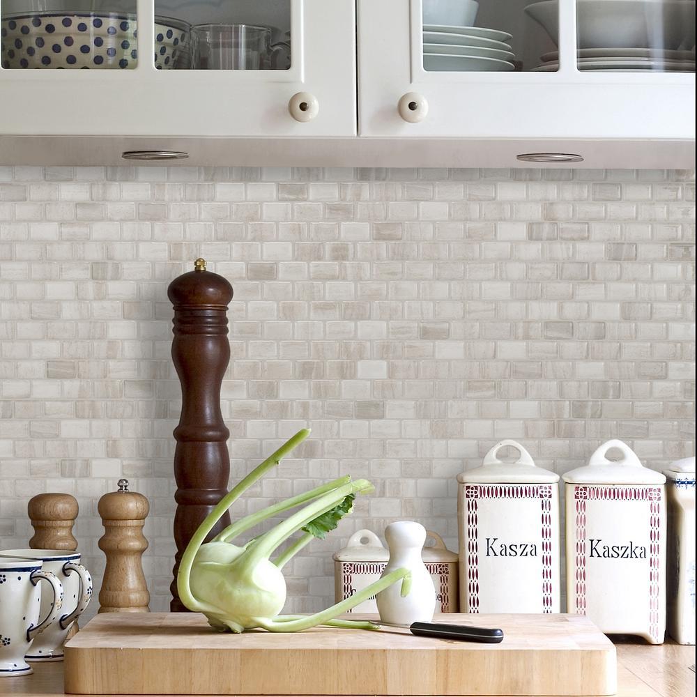 Smart Tiles Ravenna Farro 9.80 in. W x 9.74 in. H Peel and ...