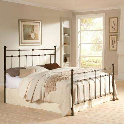 Dexter Hammered Brown Queen-Size Complete Bed with Decorative Metal Castings and Globe Finials