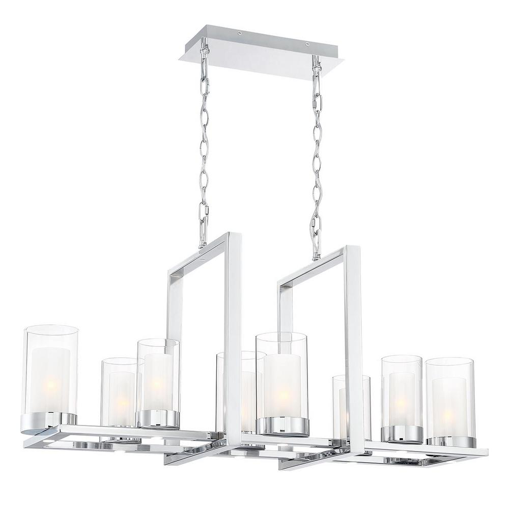 Home Decorators Collection Samantha 60-Watt 8-Light LED Chrome Chandelier with Clear and Frosted Shades