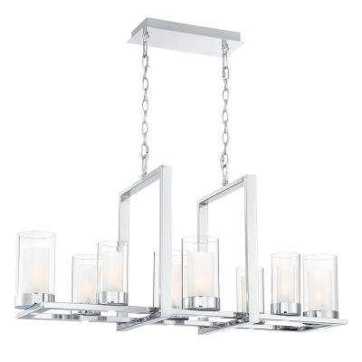Samantha 60-Watt 8-Light LED Chrome Chandelier with Clear and Frosted Shades