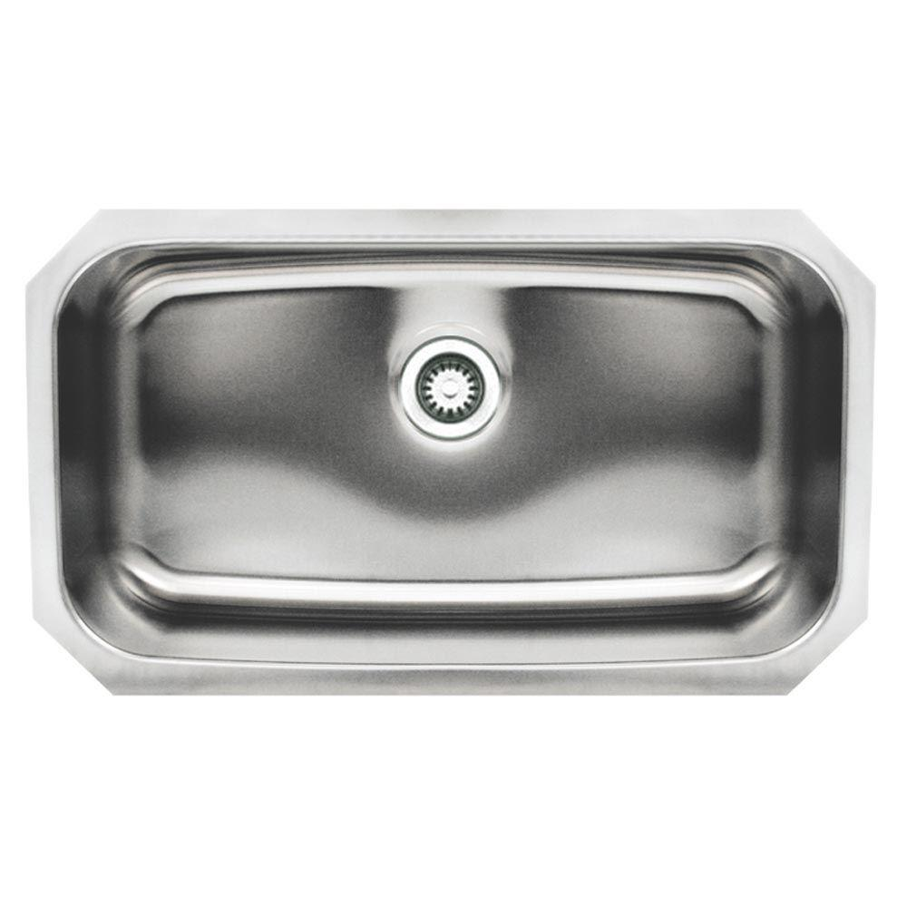 Whitehaus Collection Noah's Collection Undermount Brushed Stainless Steel 30 in. Single Bowl Kitchen Sink