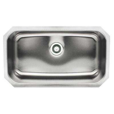 Noah's Collection Brushed Undermount Stainless Steel 30.5 in. 0-Hole Single Bowl Kitchen Sink