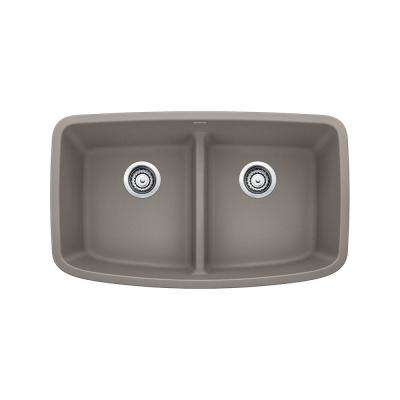 VALEA Undermount Granite Composite 32 in. Equal Double Bowl Kitchen Sink in Truffle