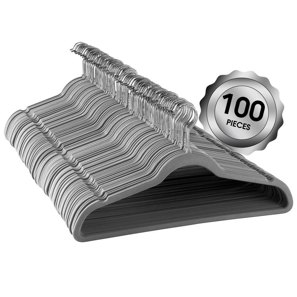Velvet Slim Profile Gray Heavy Duty Felt Hangers with Stainless Steel Swivel Hooks (100-Pack)