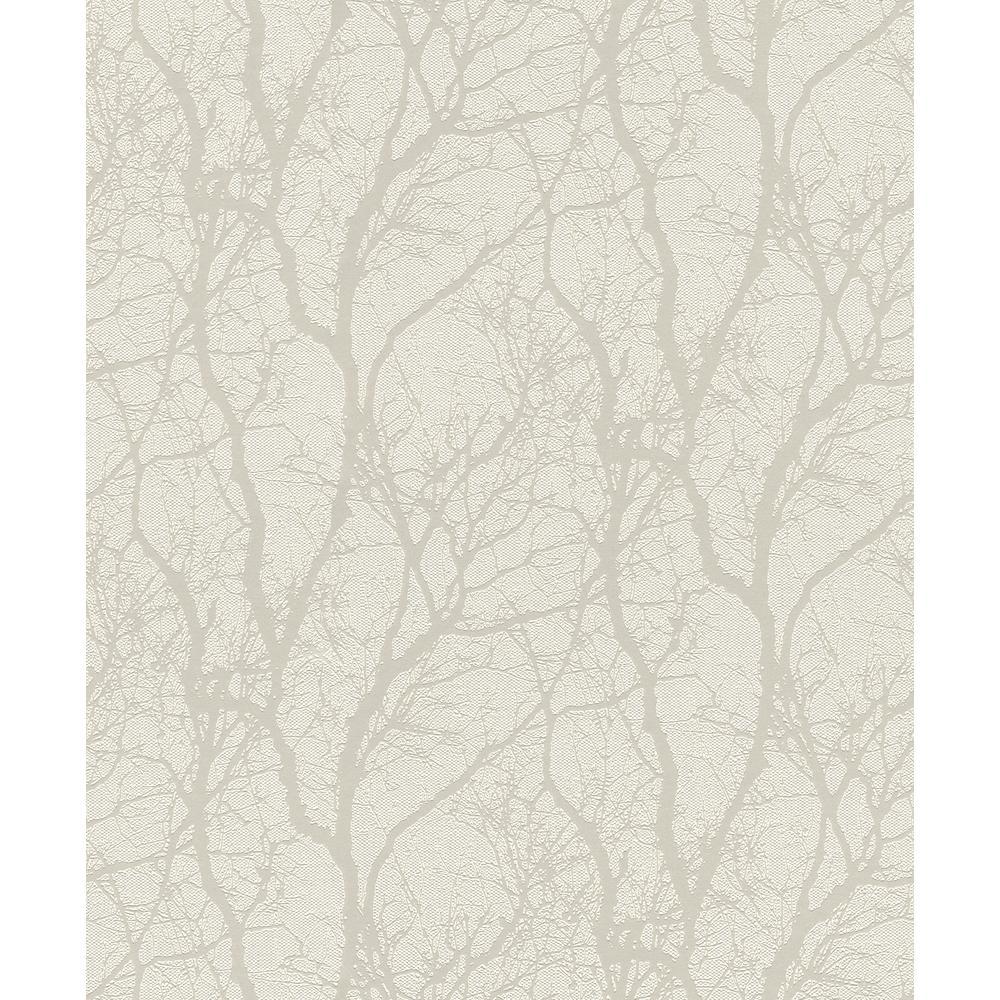 Rasch 8 in. x 10 in. Wiwen Off-White Tree Wallpaper Sample