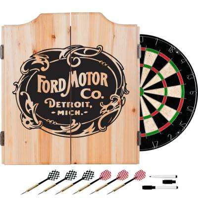 Vintage Ford Motor Co. Wood Finish Dart Cabinet Set