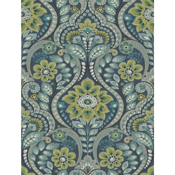 A-Street 56.4 sq. ft. Night Bloom Navy Damask Wallpaper 2763-12101