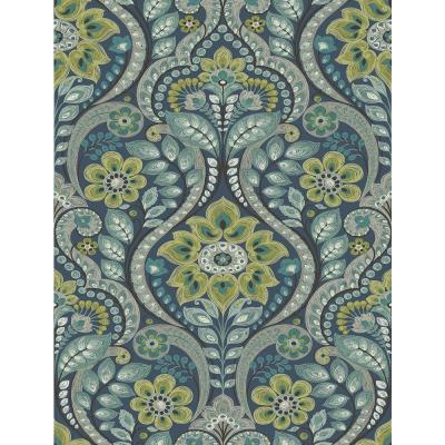 Night Bloom Navy Damask Paper Strippable Roll Wallpaper (Covers 56.4 sq. ft.)