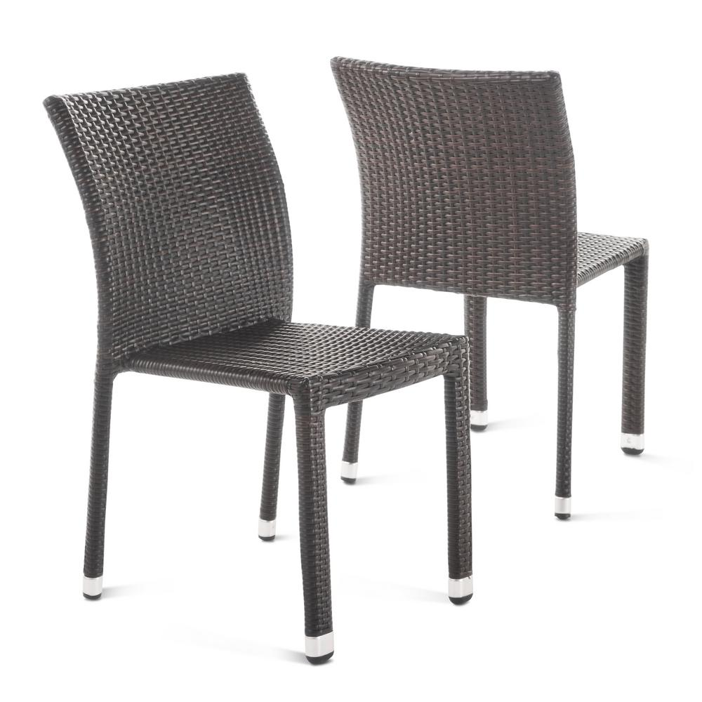 Noble House Lucian Multibrown Stackable Armless Wicker Outdoor Dining Chair 2 Pack 20200 The Home Depot