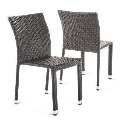 Outstanding Lucian Multibrown Stackable Armless Wicker Outdoor Dining Chair 2 Pack Interior Design Ideas Tzicisoteloinfo