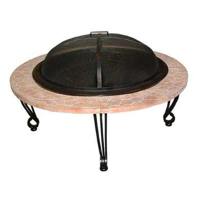 Fire Sense 39 in. x 21 in. Round Steel Wood Burning Fire Pit in Black with Iron Faux Stone Top