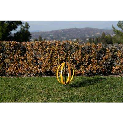 14 in. Tall Yellow and Orange Dual Metal Round Hanging or Stake Sphere