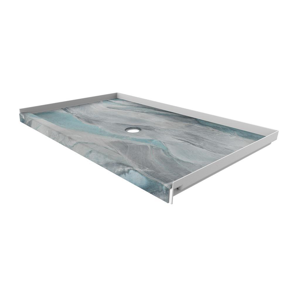 FlexStone 60 in. x 36 in. Single Threshold Shower Base with Center Drain in Triton
