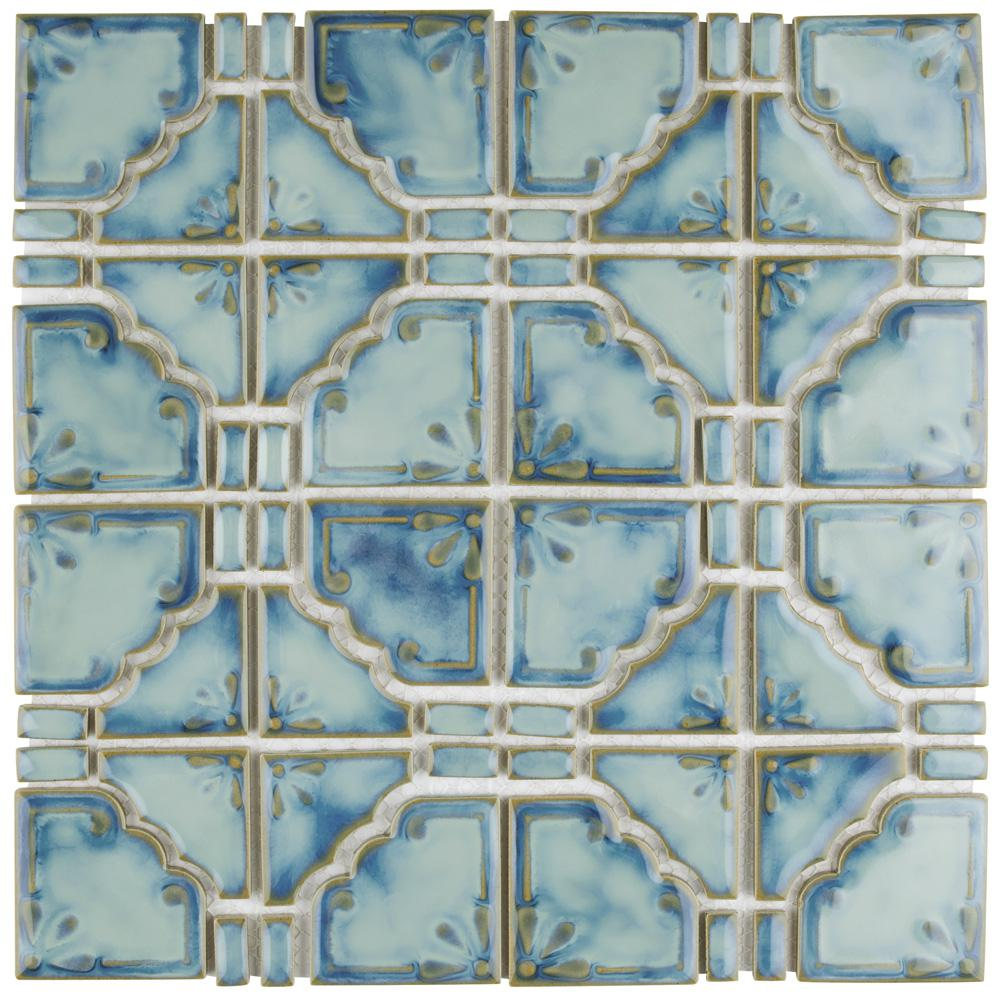 Merola Tile Moonbeam Diva Blue 11-3/4 in. x 11-3/4 in. x 7 mm Porcelain Mosaic Tile