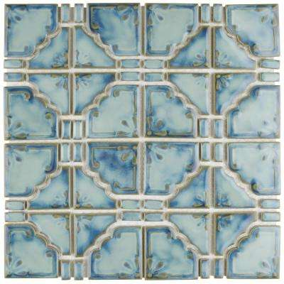 Moonbeam Diva Blue 11-3/4 in. x 11-3/4 in. x 7 mm Porcelain Mosaic Tile