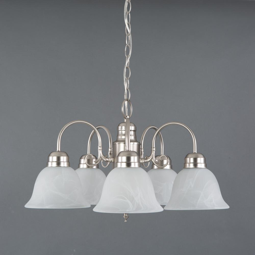 Manzanita 5-Light Satin Nickel Hanging Chandelier with Frosted Marble Glass