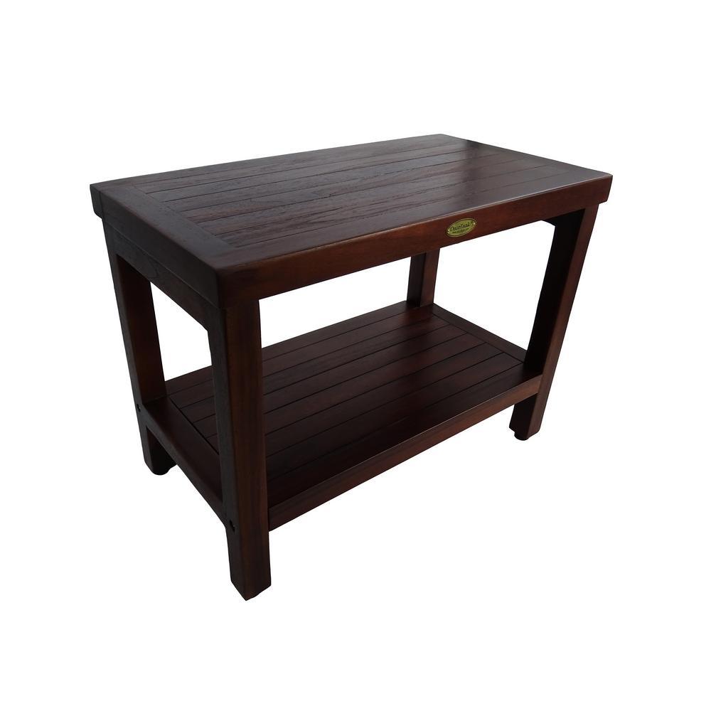 DecoTeak Classic 24 in. Teak Shower Bench with Shelf
